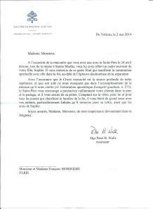 Lettre Pape mai 2014
